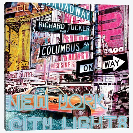 New York City Lights Canvas Print #LUZ71} by Luz Graphics Canvas Art