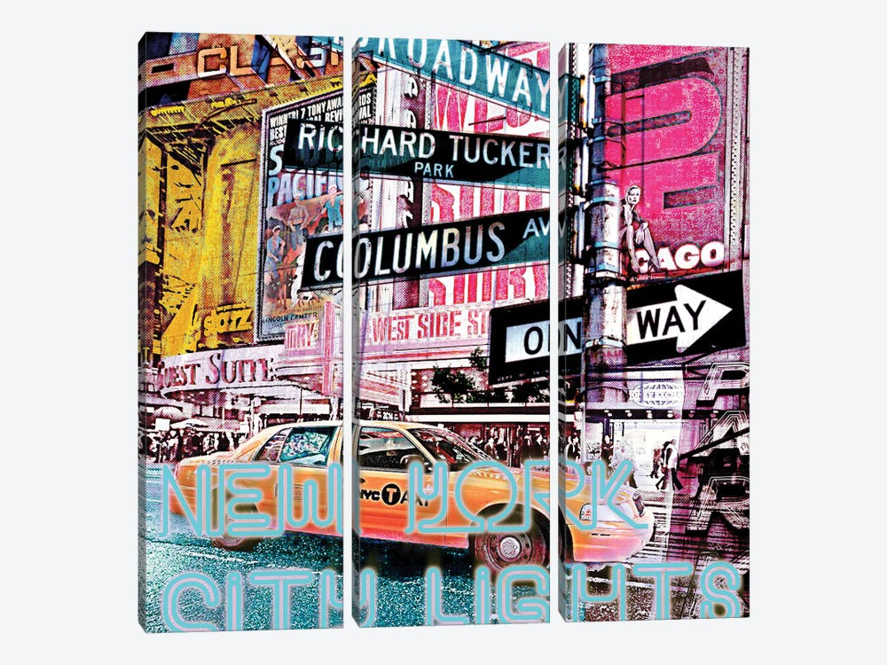 New York City Lights by Luz Graphics 3-piece Canvas Print