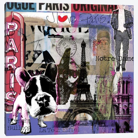 I Love Paris! Canvas Print #LUZ76} by Luz Graphics Canvas Art Print