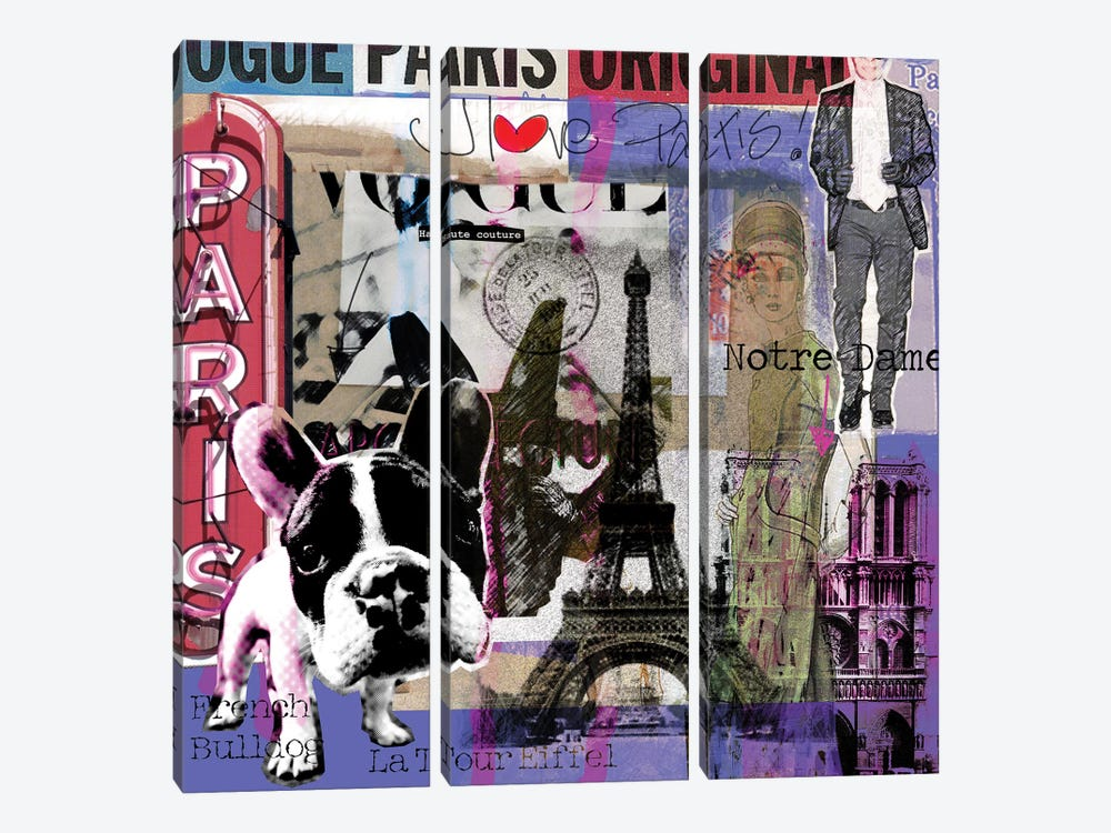 I Love Paris! by Luz Graphics 3-piece Canvas Wall Art