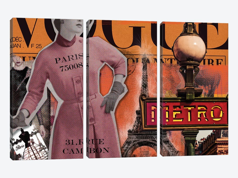 Paris Metro by Luz Graphics 3-piece Canvas Print