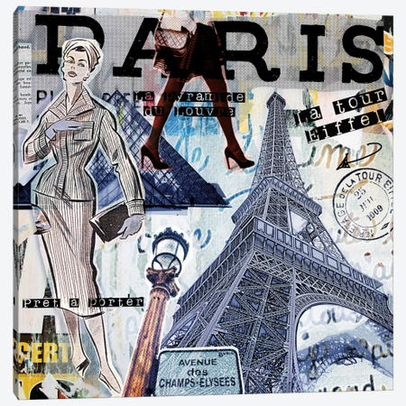 Paris Sights & Fashions Canvas Print #LUZ78} by Luz Graphics Canvas Wall Art