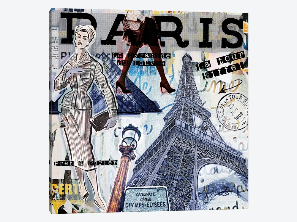 Paris Sights & Fashions by Luz Graphics 1-piece Canvas Artwork