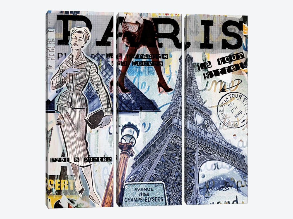 Paris Sights & Fashions by Luz Graphics 3-piece Canvas Artwork