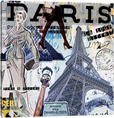 Paris Sights & Fashions Canvas Art Print