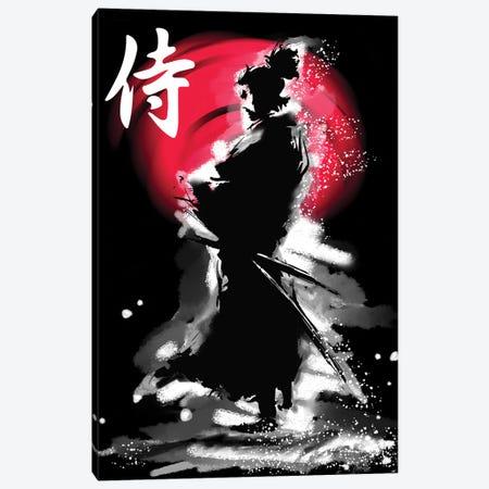 Samurai Warrior With Katana Canvas Print #LUZ86} by Luz Graphics Canvas Artwork