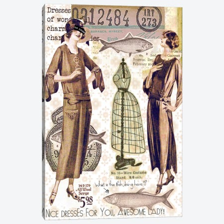 Vintage Fashion #2 Canvas Print #LUZ8} by Luz Graphics Canvas Print