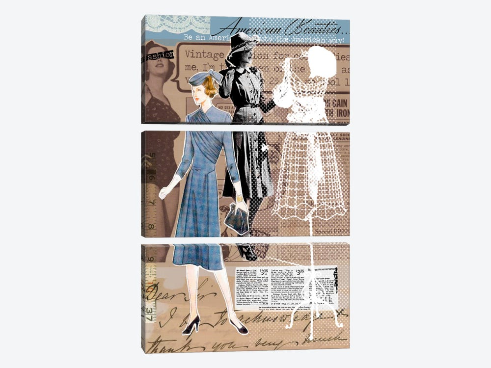 Vintage Fashion Canvas Print #1 by Luz Graphics 3-piece Canvas Wall Art