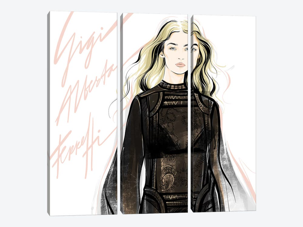 Fashion Week Gigi by Alena Lavdovskaya 3-piece Canvas Print