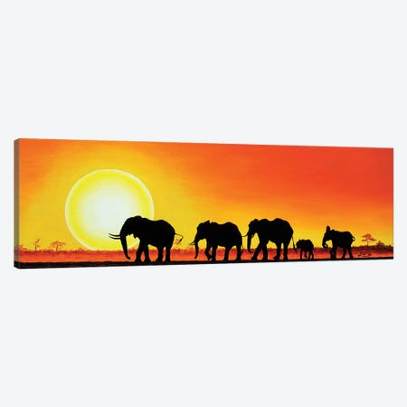 Elephant Walk Canvas Print #LVE26} by Luna Vermeulen Canvas Art Print