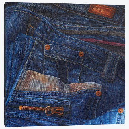 Jean Junkie Canvas Print #LVE55} by Luna Vermeulen Canvas Art