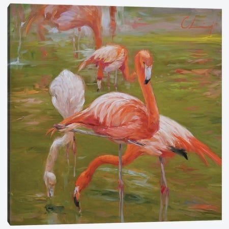 Flamingo I 3-Piece Canvas #LVY1} by Chuck Larivey Canvas Art Print