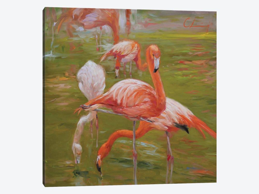 Flamingo I by Chuck Larivey 1-piece Canvas Print