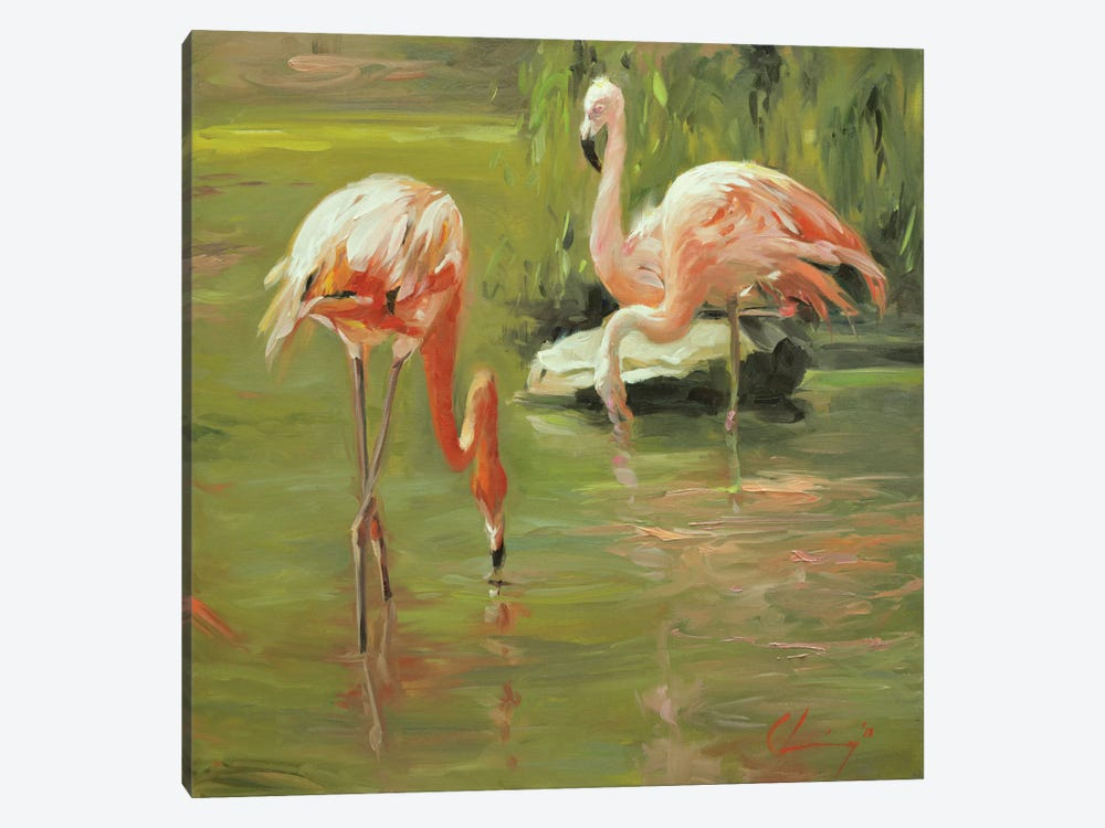 Flamingo II by Chuck Larivey 1-piece Canvas Art