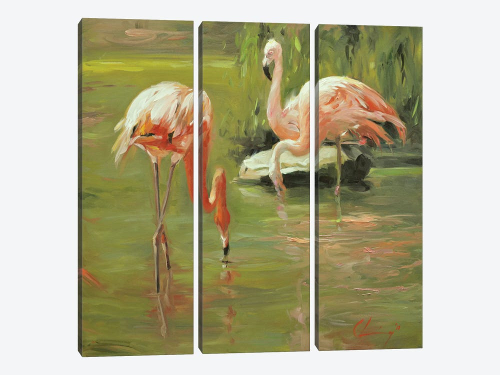 Flamingo II by Chuck Larivey 3-piece Canvas Wall Art