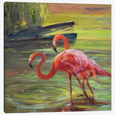 Flamingo III 3-Piece Canvas #LVY3} by Chuck Larivey Art Print