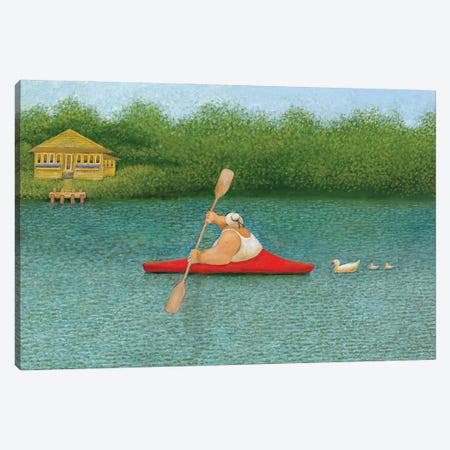 Red Kayak Canvas Print #LWE101} by Lowell Herrero Art Print