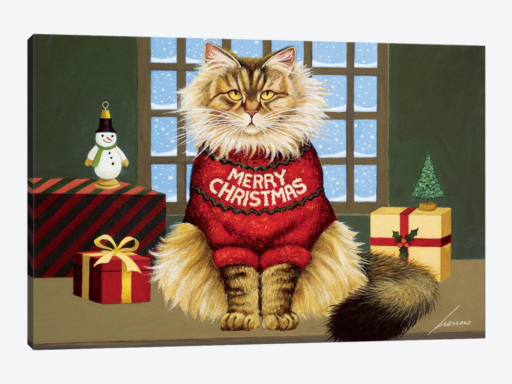Squeekys Christmas by Lowell Herrero 1-piece Canvas Art