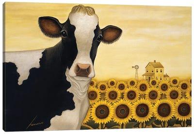 Sunflower Cow Canvas Art Print