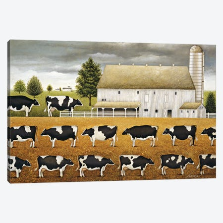 The Line Up Canvas Print #LWE130} by Lowell Herrero Canvas Art