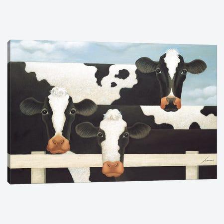 Three Cows Canvas Print #LWE133} by Lowell Herrero Canvas Wall Art