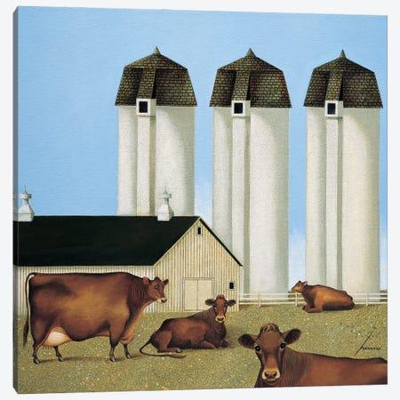Three Silos Canvas Print #LWE134} by Lowell Herrero Canvas Art Print