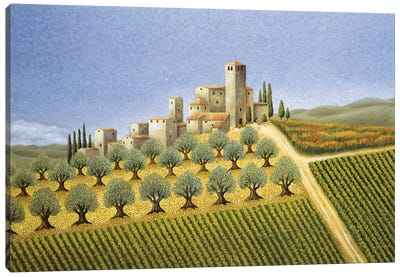Tuscan Hillside With Olive Trees Canvas Art Print