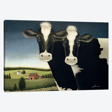 Two Cows Canvas Print #LWE140} by Lowell Herrero Canvas Art Print