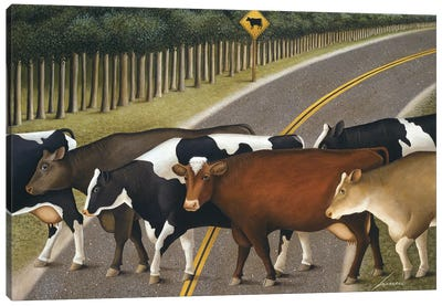 Cow Crossing Canvas Art Print
