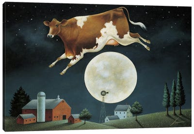 Cow Jumps Over The Moon Canvas Art Print