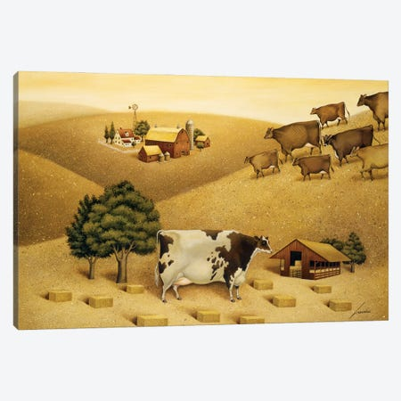 Cow On A Summer Hill Canvas Print #LWE25} by Lowell Herrero Canvas Wall Art