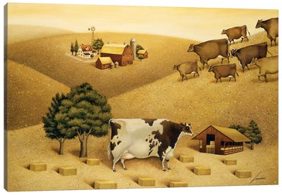 Cow On A Summer Hill Canvas Art Print