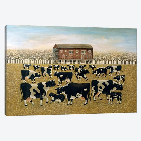 Cows Cows Cows Canvas Print #LWE26} by Lowell Herrero Canvas Artwork