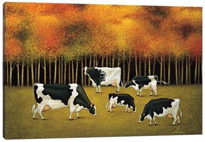Cows In Autumn Canvas Art Print