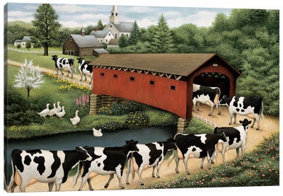Cows In West Arlington Canvas Art Print