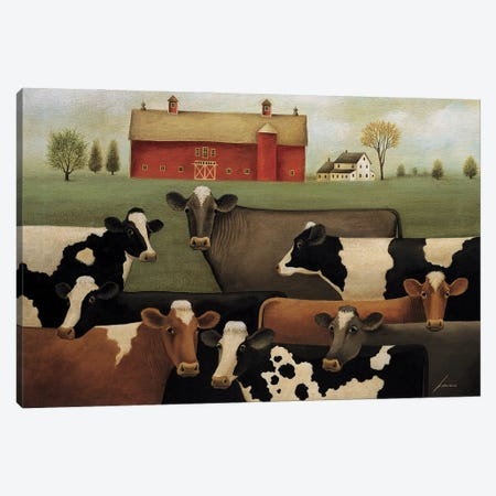 Eight Cows Canvas Print #LWE37} by Lowell Herrero Canvas Print
