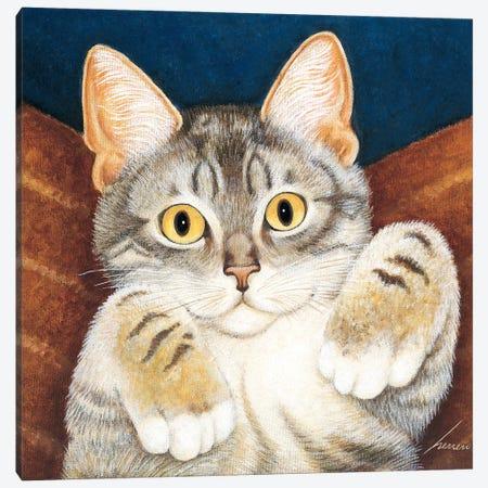 Foster Kitten Blue Canvas Print #LWE47} by Lowell Herrero Canvas Art