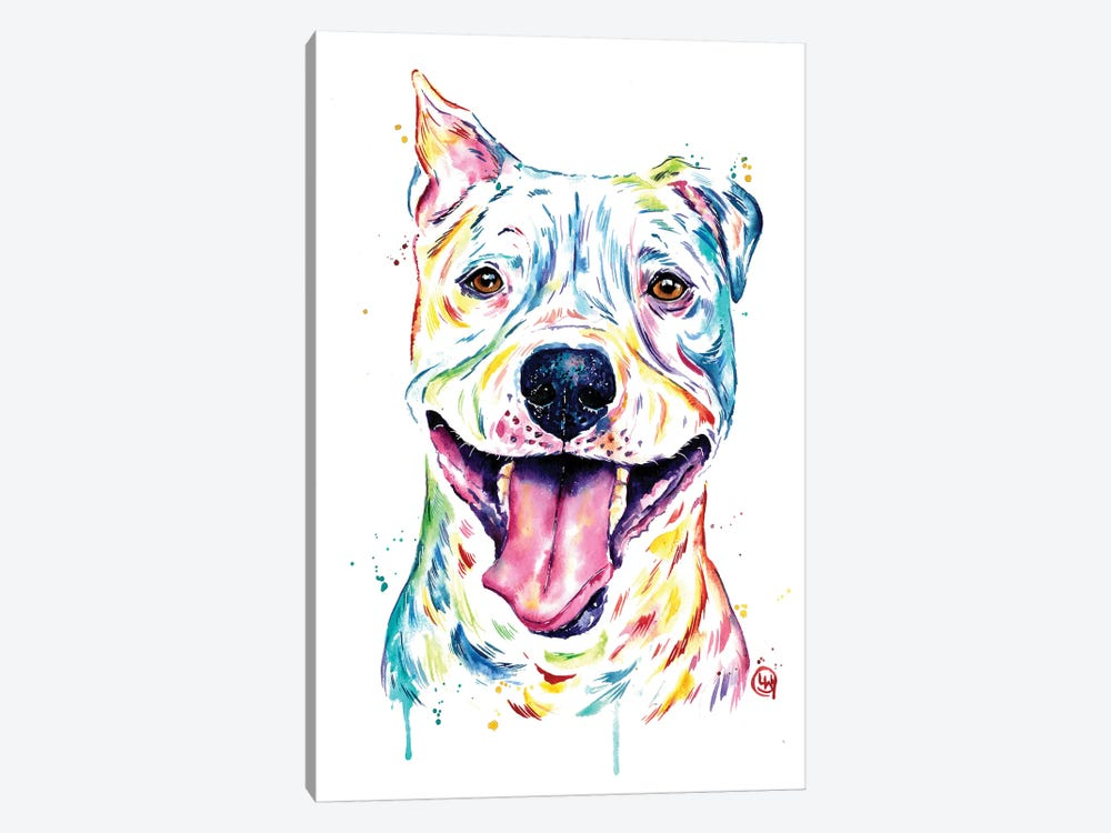 Pitbull - Full of Smiles by Lisa Whitehouse 1-piece Canvas Art