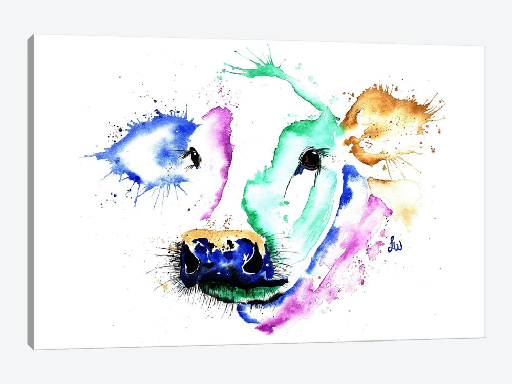 Colourful Cow by Lisa Whitehouse 1-piece Canvas Artwork