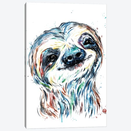 Smiley Sloth Canvas Print #LWH112} by Lisa Whitehouse Art Print