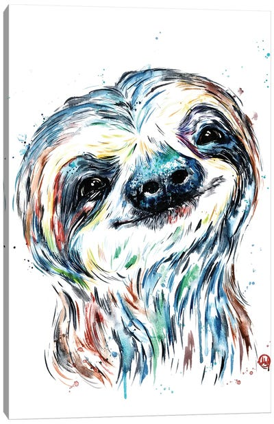 Smiley Sloth Canvas Art Print