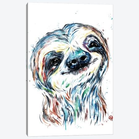 Smiley Sloth Canvas Print #LWH112} by Lisa Whitehouse Art Print