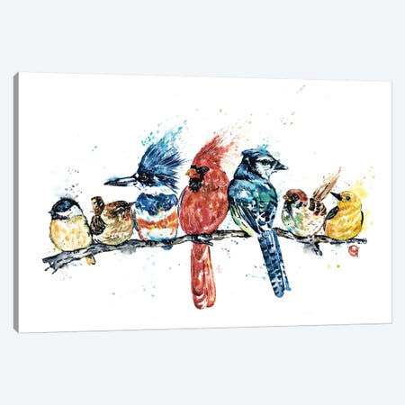 Birds on a Branch Canvas Print #LWH117} by Lisa Whitehouse Canvas Art