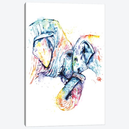 Elephant Mom and Baby Canvas Print #LWH122} by Lisa Whitehouse Canvas Wall Art