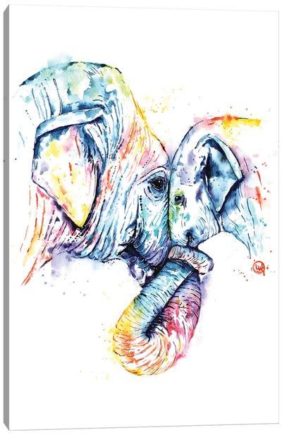 Elephant Mom and Baby Canvas Art Print