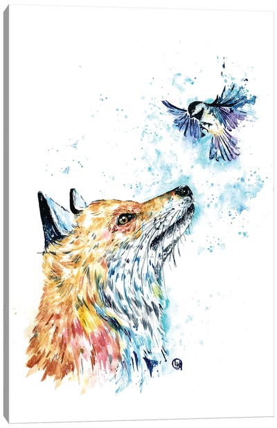 Fox and Chickadee Canvas Art Print