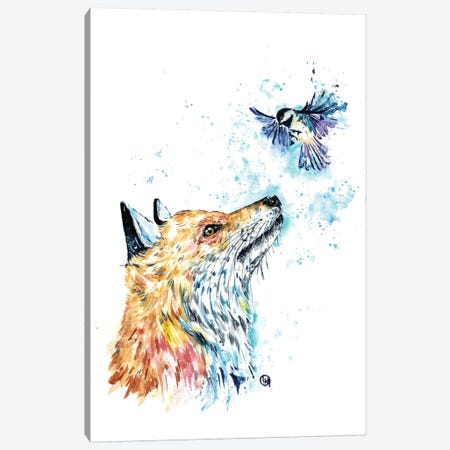 Fox and Chickadee Canvas Print #LWH124} by Lisa Whitehouse Canvas Art Print