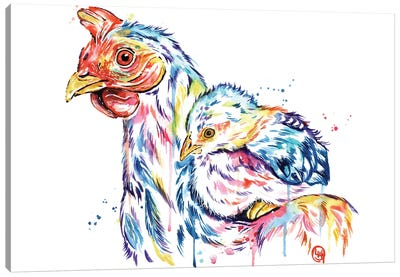 Chickens - Safe At Home Canvas Art Print