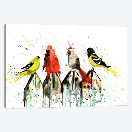 Judgy Birds Canvas Print #LWH27} by Lisa Whitehouse Canvas Art Print