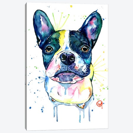 Juno The Frenchton Canvas Print #LWH28} by Lisa Whitehouse Canvas Wall Art